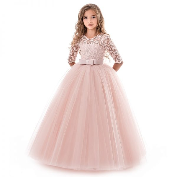 New Princess Lace Dress Kids Flower Embroidery Dress