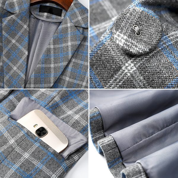 Lenshin Comfortable Plaid Jacket and Office Casual Blazer