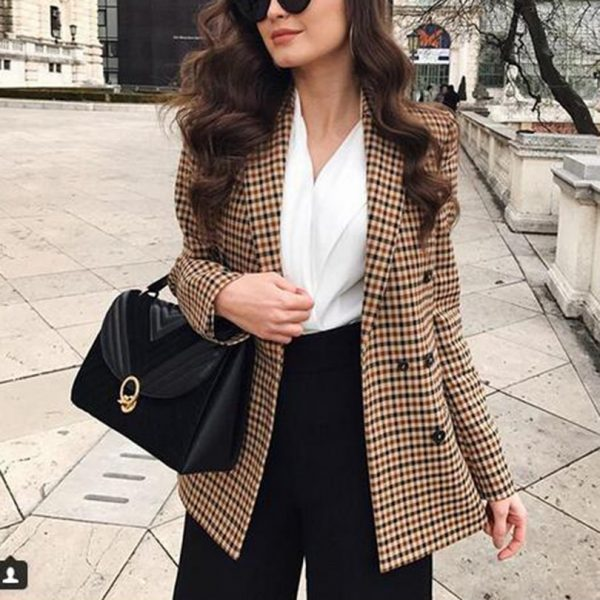 Fashion Women Plaid Blazers Work Office Jackets Coat