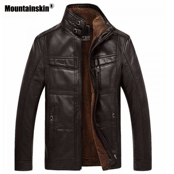 Men Business Winter Faux Leather Jacket Men Coats