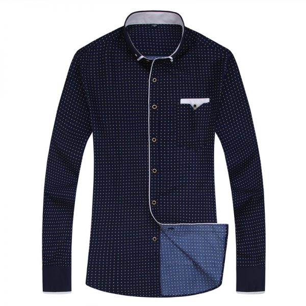 Fashion Print Casual Shirts Men Long Sleeve Shirt