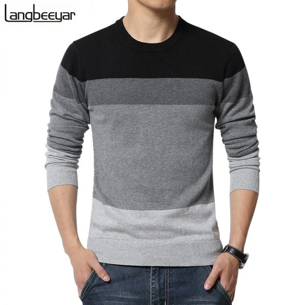 Casual Men's Sweater O-Neck Striped Pullovers