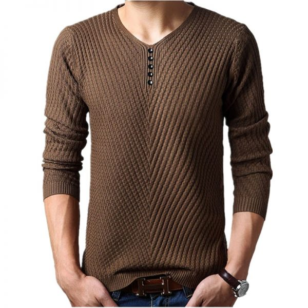 Men Winter Henley Pullover Christmas Sweater