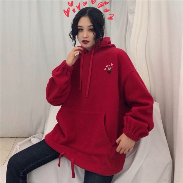Hoodies Women Pockets Embroidered Cartoon Trendy