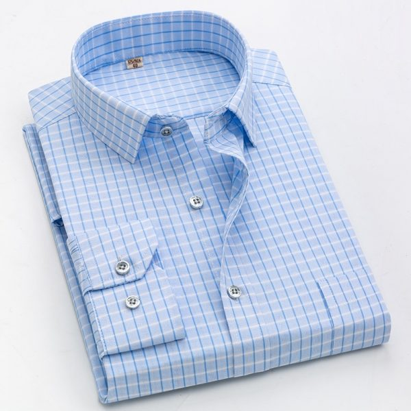 Men Casual Long Sleeve Business Formal Plaid Shirt
