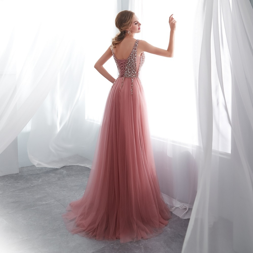 beading prom dresses V neck Pink Tulle Train Evening Gown