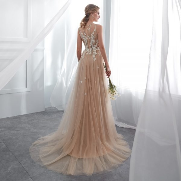 Champagne prom dress long party evening gowns