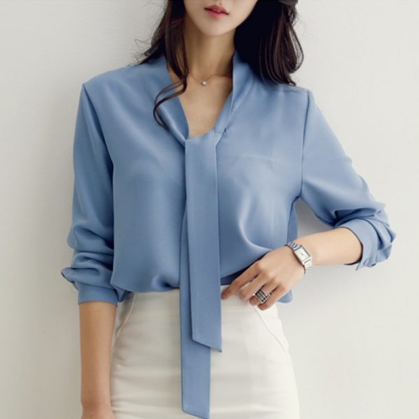 fashion woman blouses Casual solid blue chiffon OL blouse
