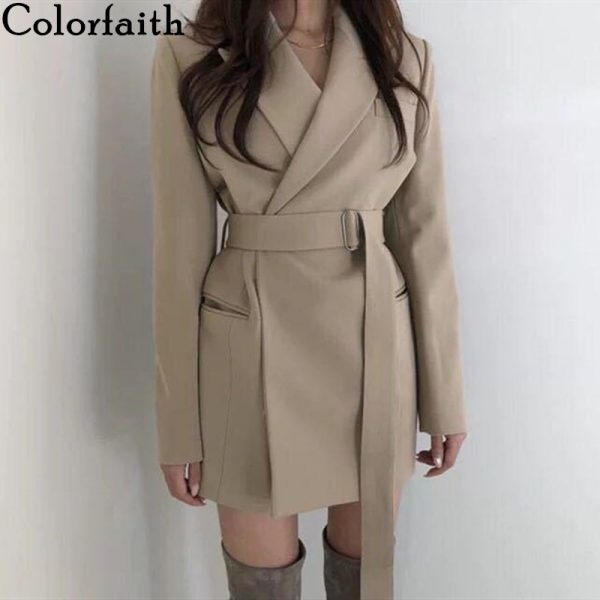 Autumn Winter Women's Blazers Sashes Jackets