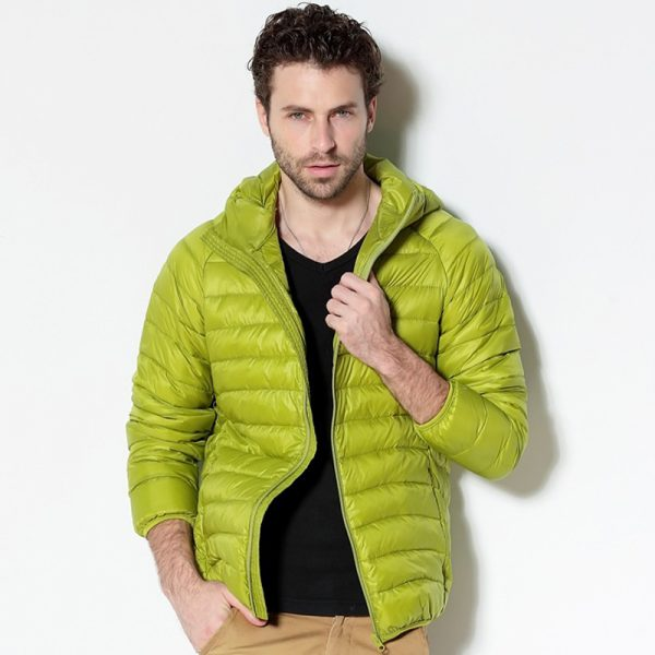 Men White Duck Down Jacket Portable Hooded Down Coat