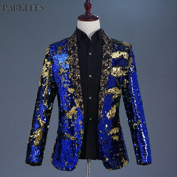Men Blazer Nightclub Stage Shawl Collar Mens Suit Jacket