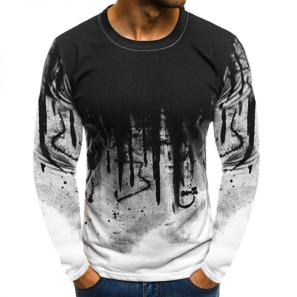Men Camouflage Printed T-Shirt Long Sleeve Fitness T-shirts