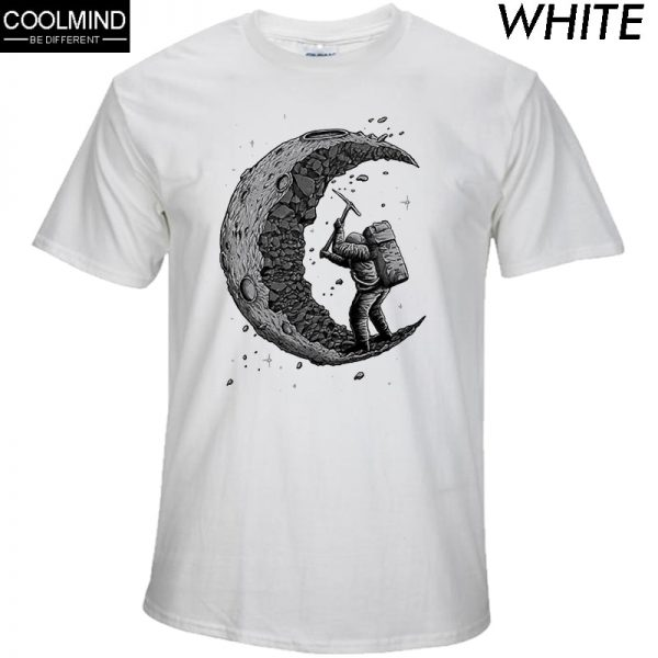 100% Cotton Digging Moon Print Casual Men T-Shirts