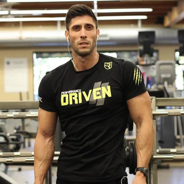 Men Cotton Brand T-shirt Gyms Fitness Slim Tee shirt