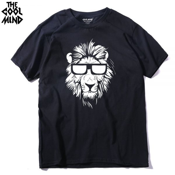 cotton short sleeve animal lion printed men T-shirt casual T-shirt