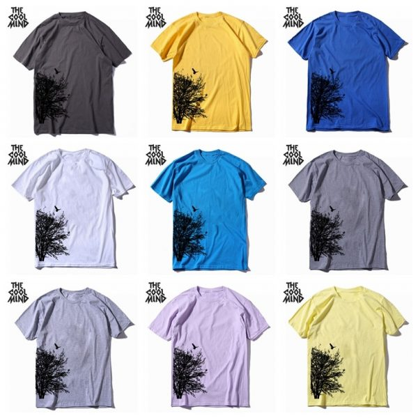 100% cotton short sleeve summer creative tree print men T shirt