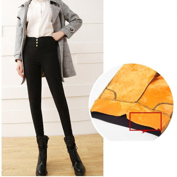 Women Leggings Solid With Pocket Zipper Winter Leggings