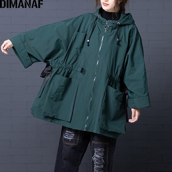 Autumn Winter Vintage Female Outerwear Loose Hooded