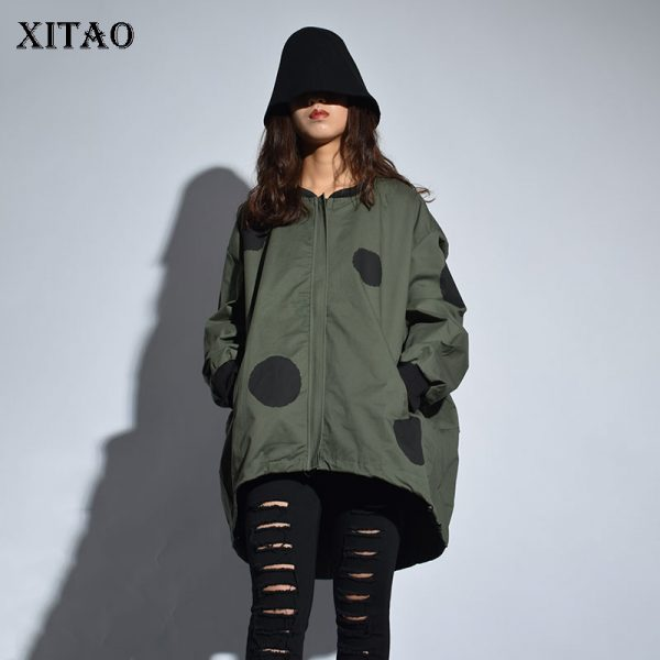 New Arrival Autumn Casual Women Polka Print Stand Coat