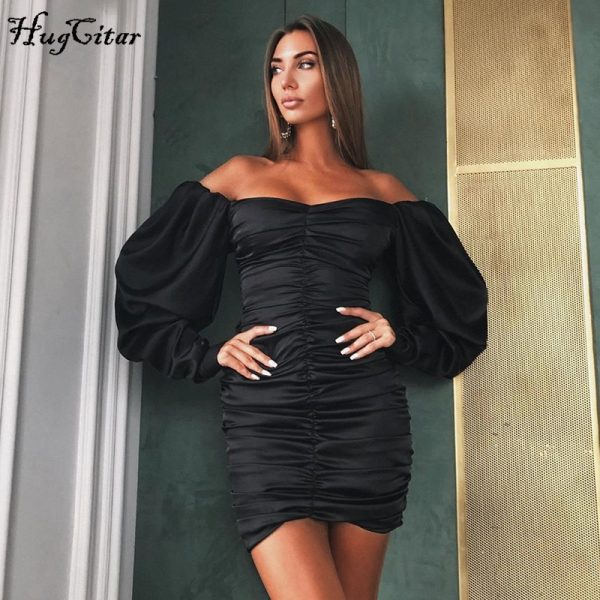Sexy mini dress autumn winter women solid party