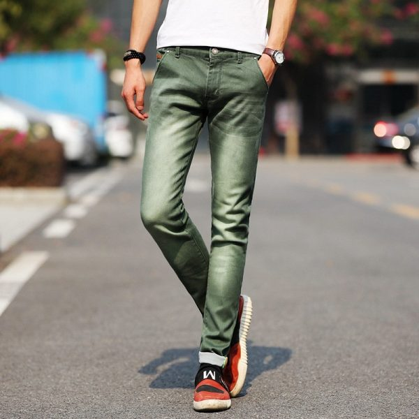 Fashion Stretch Jeans Casual Green Denim Trousers Jeans
