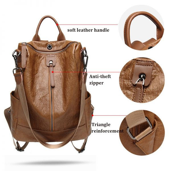 Women Leather Shoulder Bag Backpack