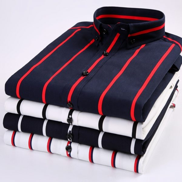New Men Cotton Striped Short Sleeve Casual Shirts