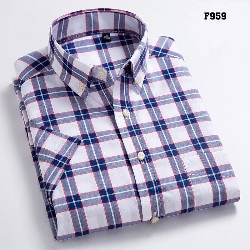 Men's Oxford Casual Shirts Leisure Design Plaid Shirts