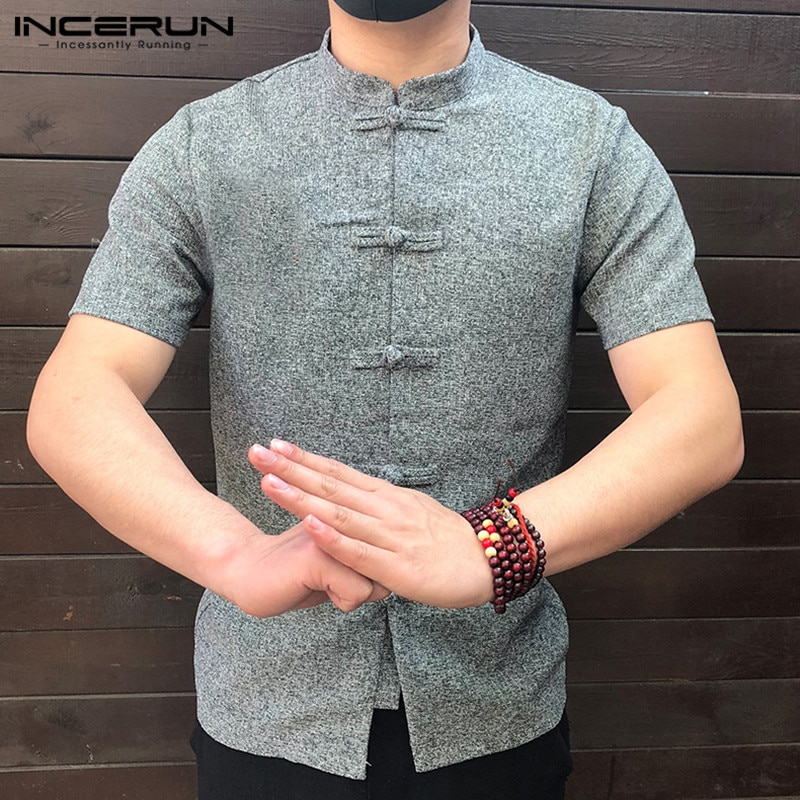 Men Button Stand Collar Short shirts