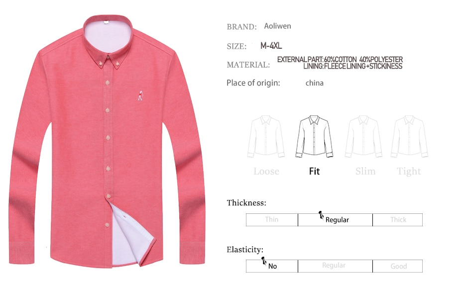 Aoliwen brand men Solid oxford long sleeve warm shirts