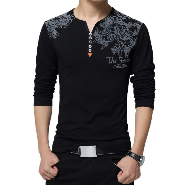 Fashion Floral Print Men T-shirt Henry Decorate T-shirt