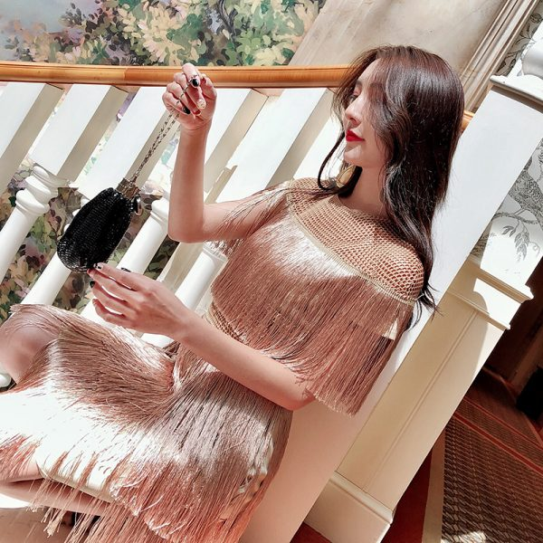 fringe dress vintage elegant sexy party club wear beach