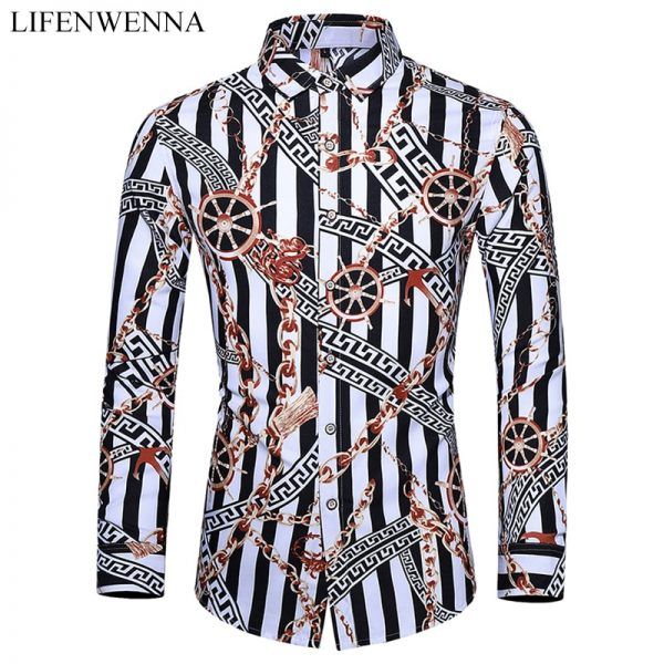 Casuals Shirt Personality Printing Long Sleeve Shirts Mens