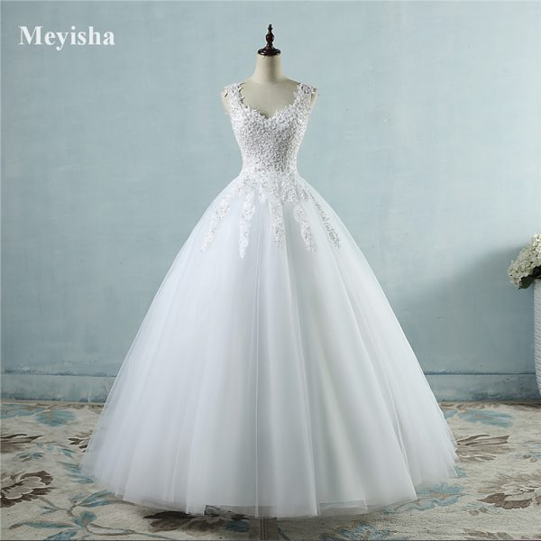 Gowns Spaghetti Straps White Ivory Tulle Wedding Dresses
