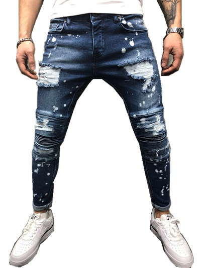 Men's Painted Skinny Slim Fit Straight Ripped Distressed