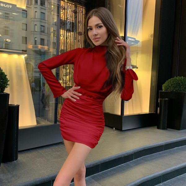long sleeve ruched pure sexy mini dress