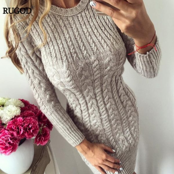 Autumn Winter Warm Sweater Women Dress