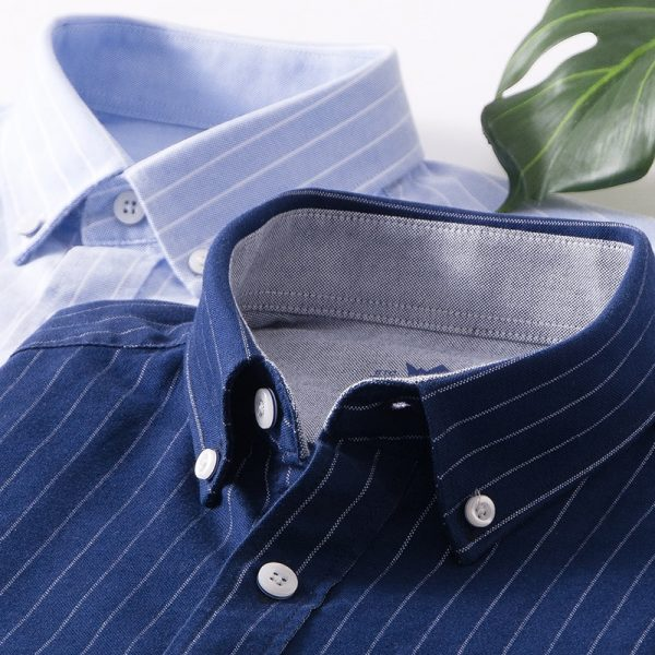 Men's Oxford Dress Cotton Stripe Shirts