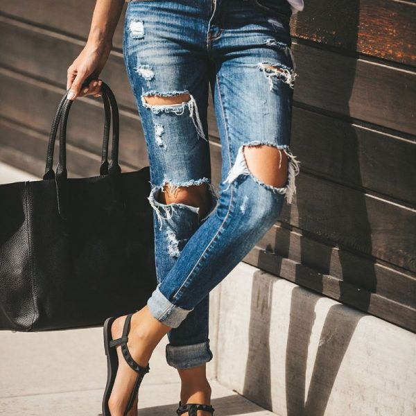 Ripped women calca jeans Pants
