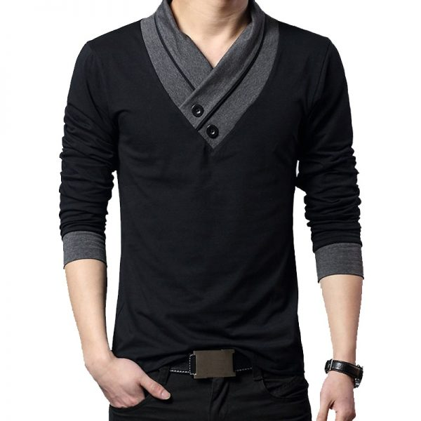 Long Sleeve Collar V-Neck Cotton T Shirt