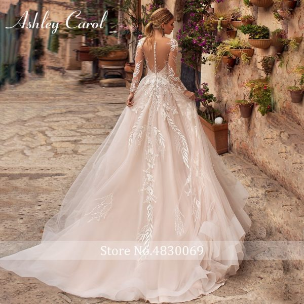 V-neck Backless Long Sleeve Wedding Dress