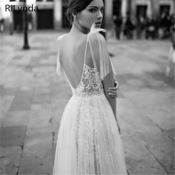 Backless Bohemia Sexy Spaghetti Wedding Dresses
