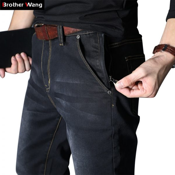 Elastic Zipper New Men's Denim Jeans