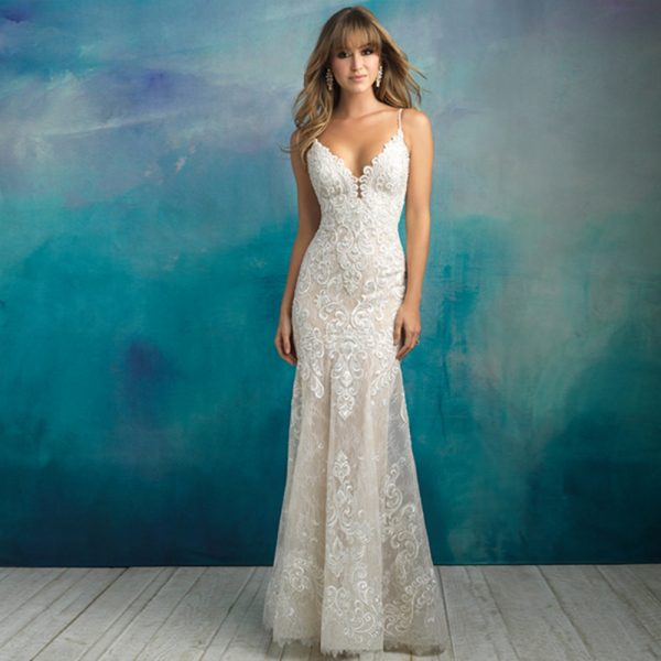 V-neck Backless Mermaid Wedding Dress