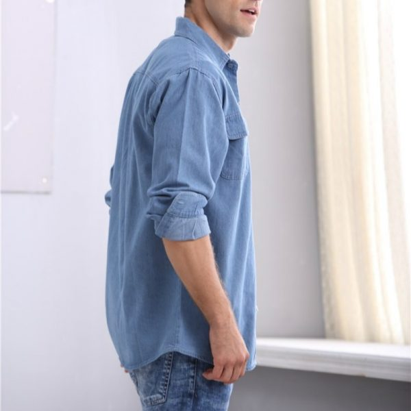 Soil slim Denim sleeved thin shirt