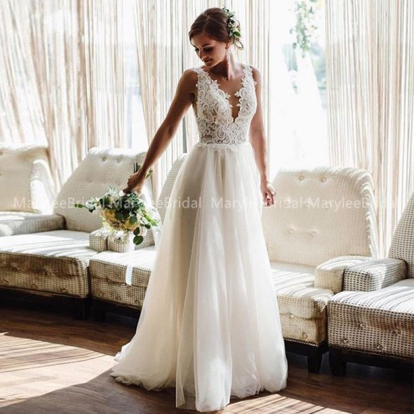 Summer Bride Dress Backless Wedding Gowns