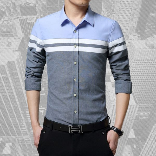 Patchwork Clothes Male Sleeve Shirt