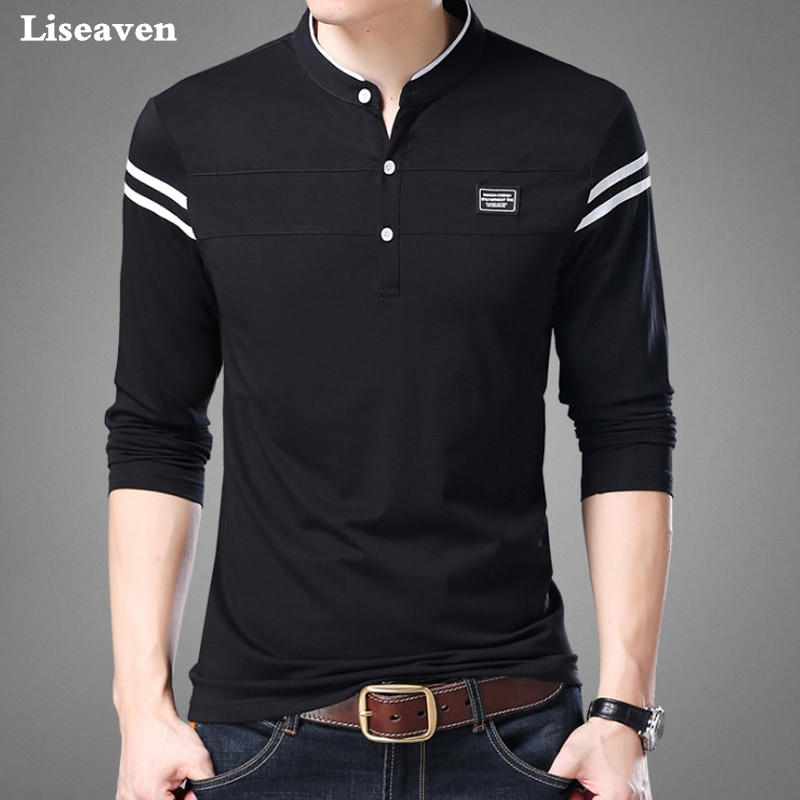 Men Sleeve Mandarin Collar Tshirts