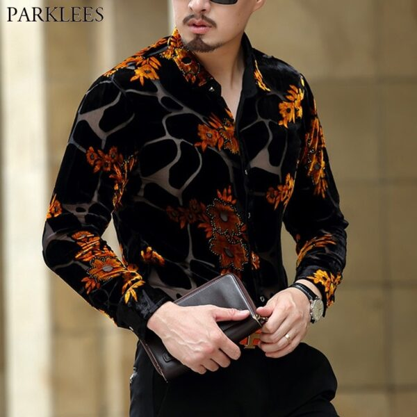 Luxury Brand Mens Sexy Dress Shirt