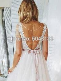 Sexy Backless V Neck Ball Wedding Dresses